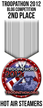 Runner-up team in the 2012 Troopathon blogger competition.