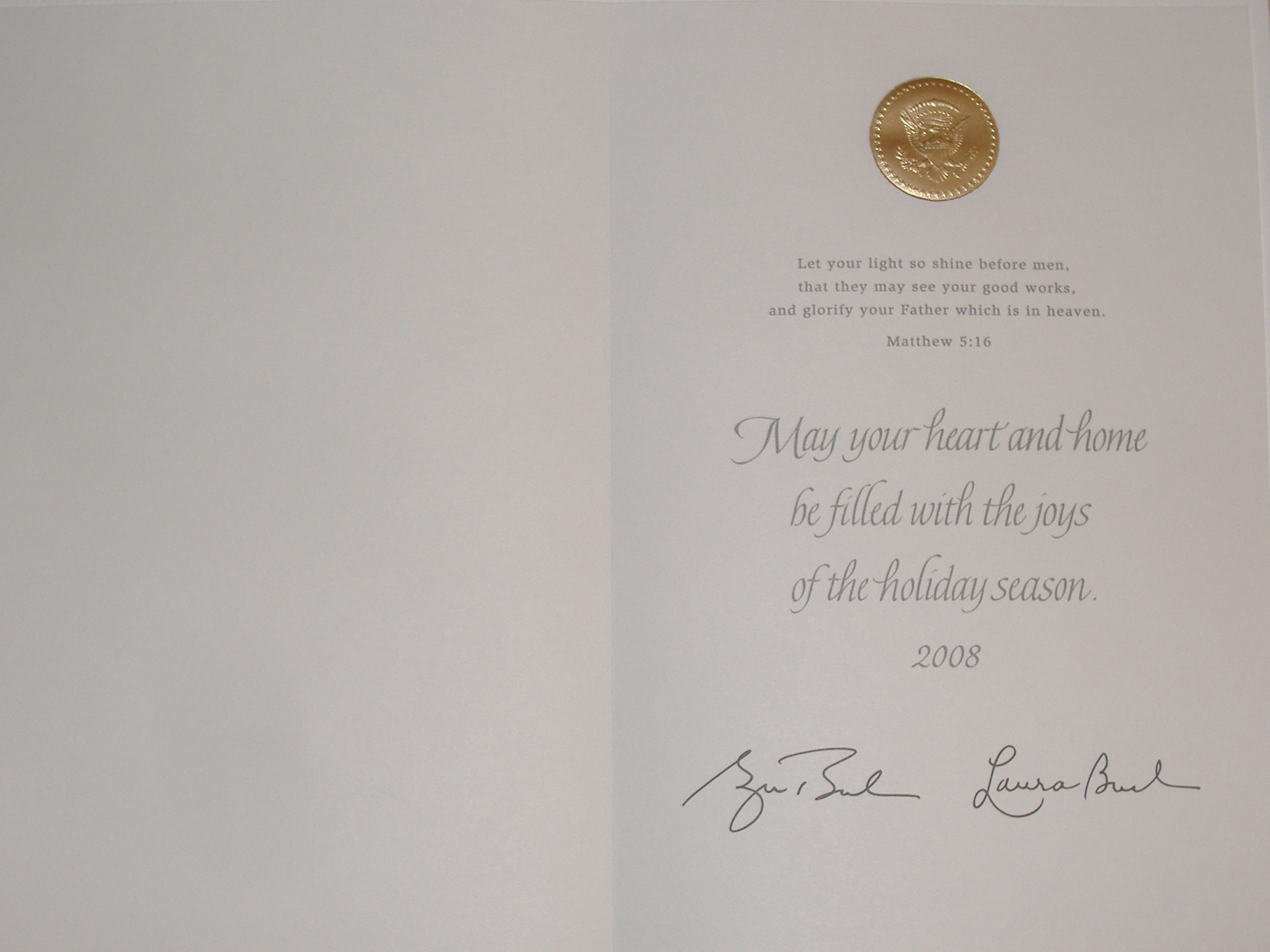 The inside of this year's White House Christmas, once again with a Scripture verse.