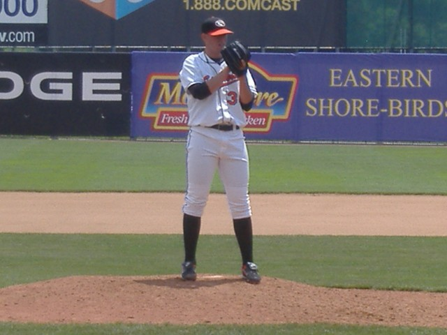 Oliver Drake eyes the plate during a recent daytime appearance against Greensboro. It was his lone relief stint this season.