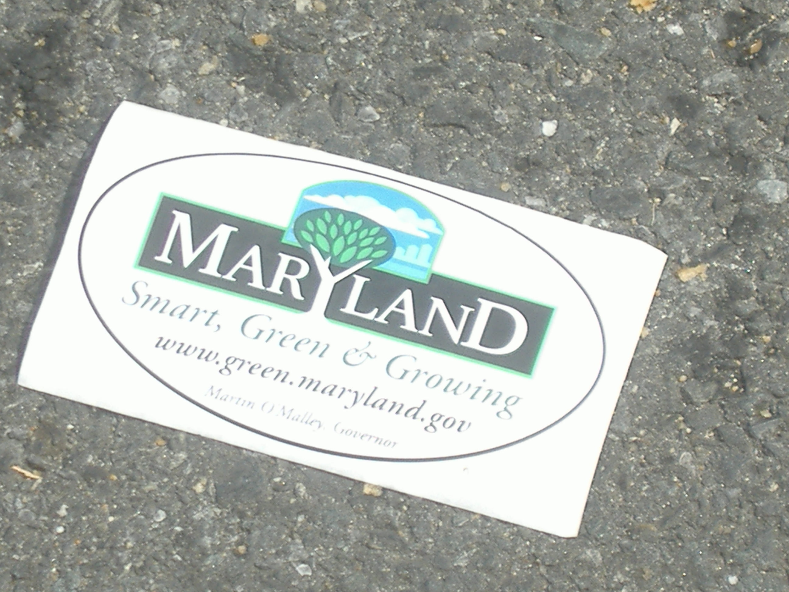 There were a few of these stickers lying around Tawes as well. I haven't seen too much that was smart about the O'Malley Administration's push for green, because the only things which seem to be growing in Maryland are the tax burden, unemployment rate, and size of government.