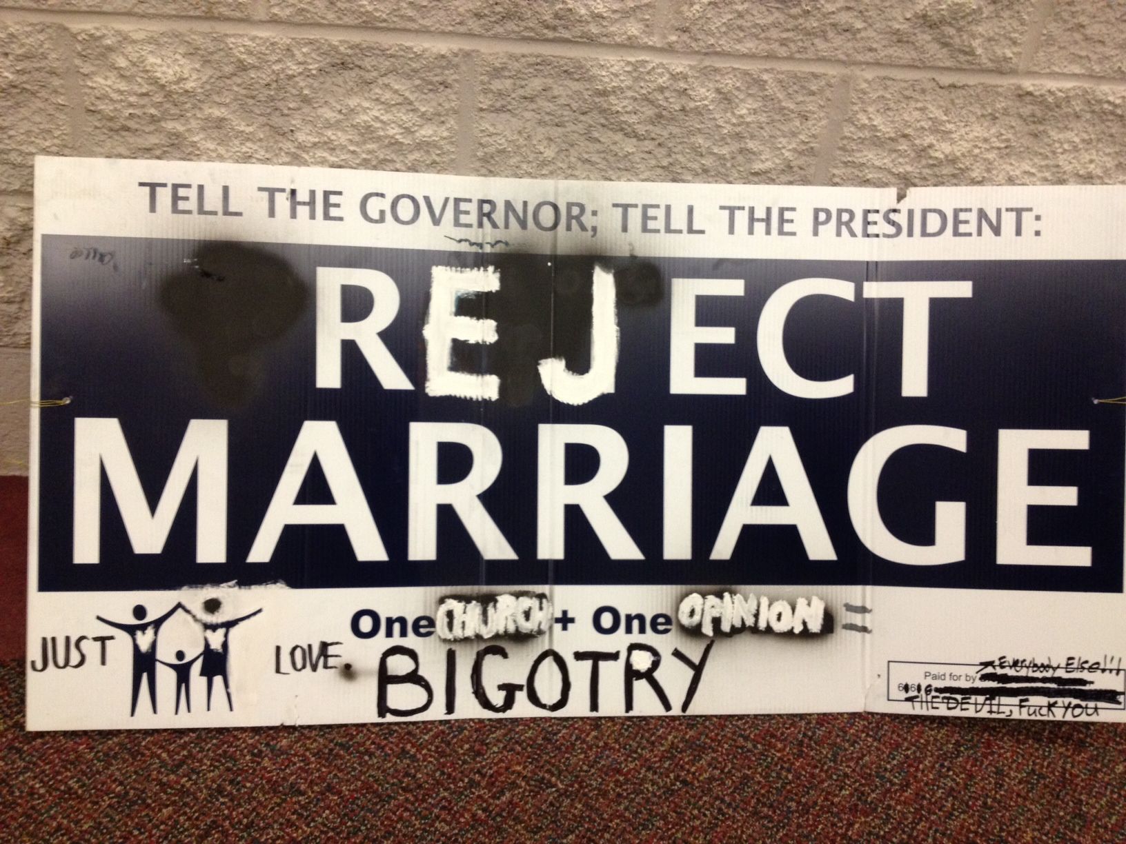 An example of sign vandalism provided by Protect Marriage Maryland.