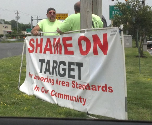 Picketers protest in front of the Target store here in Salisbury on May 15, 2012.