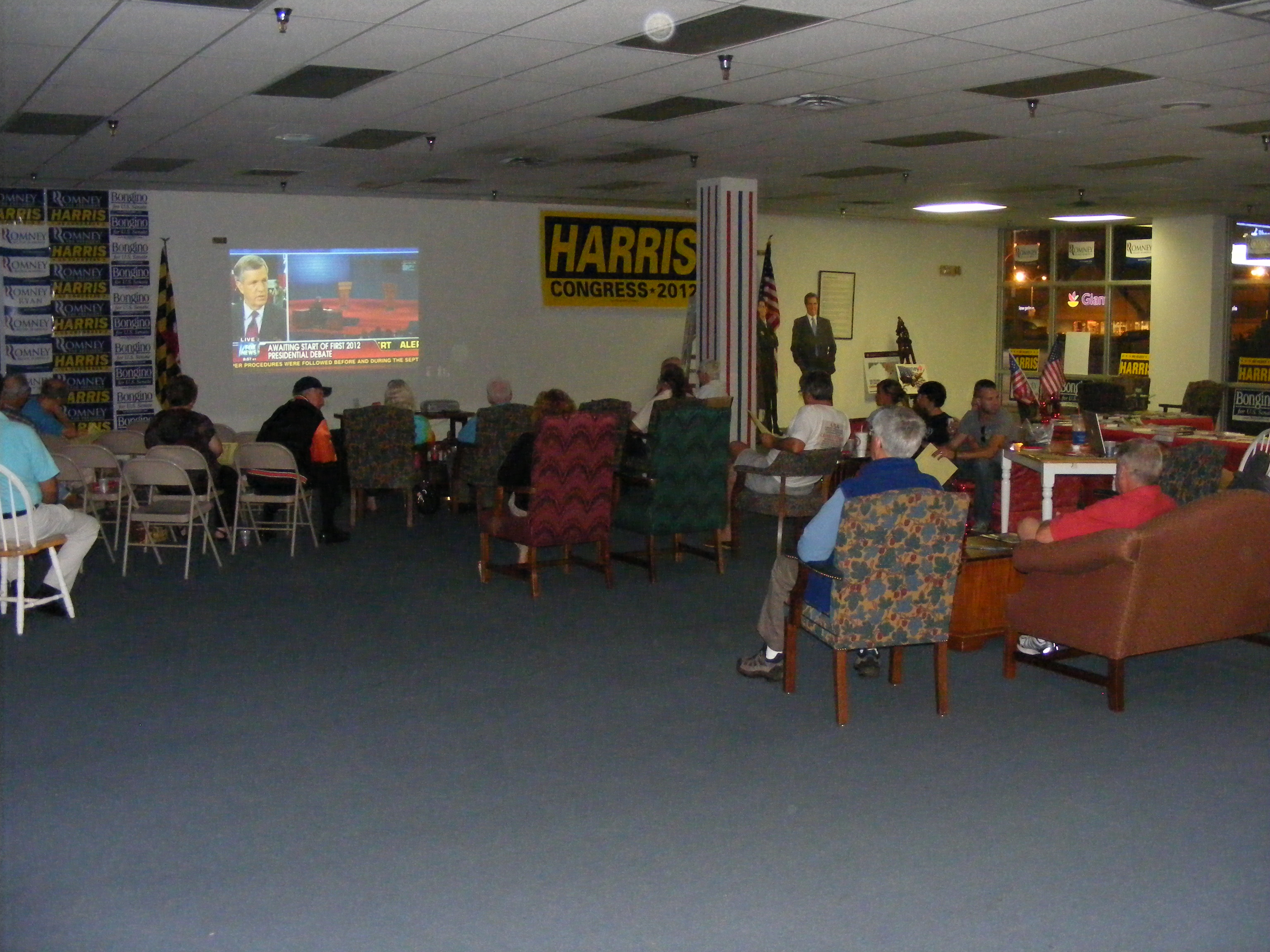 The group watching the debate at Wicomico County's Republican headquarters.