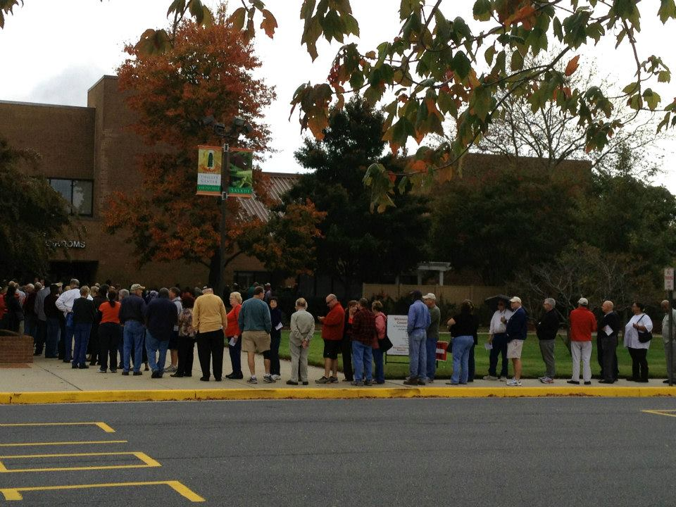 Early voting at the Wicomico Youth and Civic Center, October 27, 2012. Photo by Jackie Wellfonder.